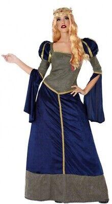 Damen Lang Blau Mittelalterliche Königin Abendkleid Kostüm Outfit - Mittelalterliche Outfit