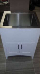 Laundry Sink and Cabinet Combo - GLOSSY WHITE - 3 SIZES AVAIL