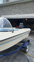 1989 sunray 15' runabaout with 80hp merc
