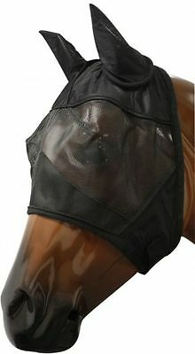 LARGE HORSE FLY MASK WITH EARS FLEECE LINED COMFORTABLE PROTECTION BLACK