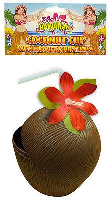 FANCY DRESS HAWAIIAN HULA PLASTIC COCONUT CUP WITH FLOWER AND STRAW - Coconut Cup With Flower And Straw