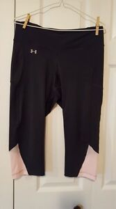 Women's Under Armour Run Fly By Capri Tights, Large, Grey/Pink