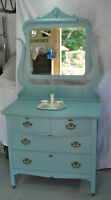 Antique Knechtel Dresser and Antique Bevelled Mirror