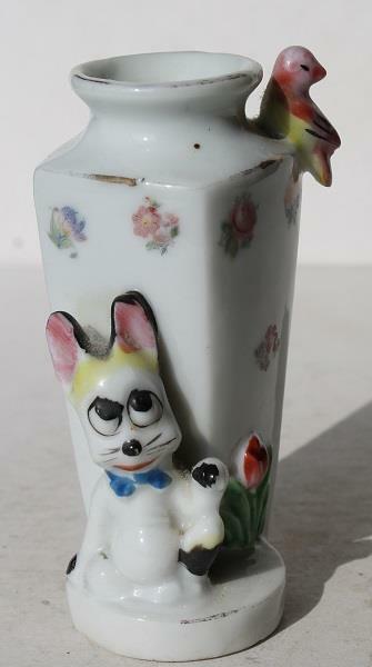 Bunny Rabbit-Bird Figurine Bud Flower Vase Ceramic-Porcelain Hand Painted-CUTE