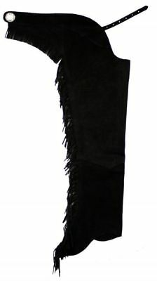 BLACK SUEDE REAL LEATHER WESTERN HORSE SADDLE SHOW CHAPS  XS  S  M  L  XL  XXL - Chaps Horse