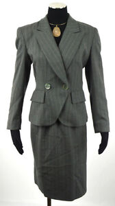 Christian Dior Grey Pinstripe Suit Skirt and Blazer  Size 6
