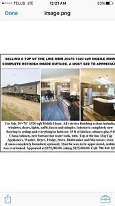 For sale! Top of the line 20 ft x 76 ft. 1520 sqf mobile home