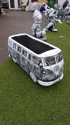 CONCRETE VW STYLE CAMPERVAN PLANTER LARGE GARDEN ORNAMENT