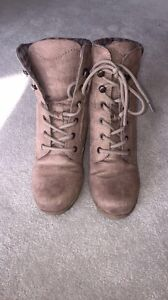 Beige Swede Wedge Boots