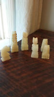 Marble and Onyx Chess Pieces - Full Set