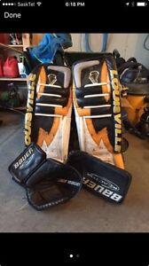 36inch Louisville goalie pads , Bauer glove and blocker