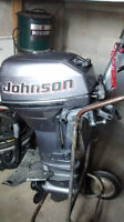 9.9 HP Johnson outboard with full power.