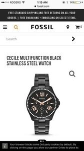 FOSSIL CECILE STAINLESS STEEL WATCH BLACK (female) Cambridge Kitchener Area image 4