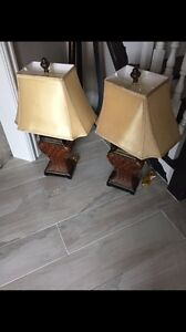 Pair of brown side table lamps with beige shades