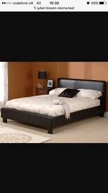 Small double 4ft faux brown leather bed and memory foam mattress
