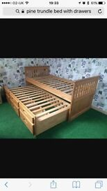Single pine trundle bed