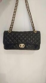 Black Chanel large quilted chain bag clutch bag evening bag