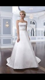 White Lillian West wedding dress and lace overlay