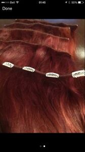 5 pieces of 12'' real red hair extensions