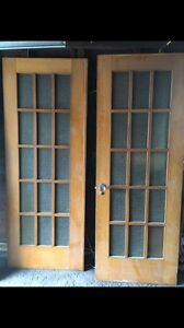 Antique solid oak French doors (one pair)
