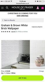 6 x rolls White Brick effect Wallpaper