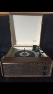 Old portable record player with built in speaker