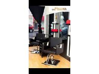 Three salon chairs for hairdresser, eyebrows or barbers.