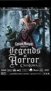 2 TICKETS TO LEGENDS OF HORROR AT CASA LOMA SAT OCT 29TH