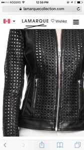 Lamarque perforated black leather jacket size xs