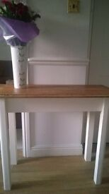 Solid Oak and clotted cream colour console table