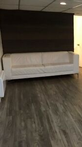 EQ3 White Leather Couch