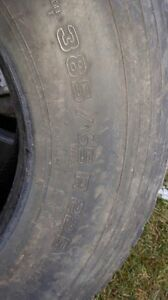 Two used truck steering tires
