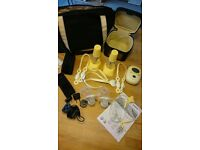 MEDELA DOUBLE BREAST PUMP AND BOTTLES