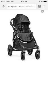 Baby Jogger City Select Stroller - Black with double seat