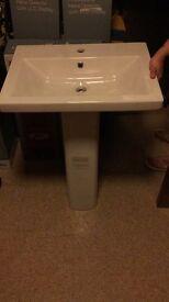 Azzurra sink oblong designer sink 600mmx450mm 1 tap hole n full pedestal new cost £799 rrp