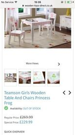 Kids teamson table and chairs