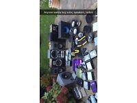 Speakers, subs, amps, car speakers, radios