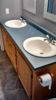 66 inch bathroom vanity with double sinks and faucets
