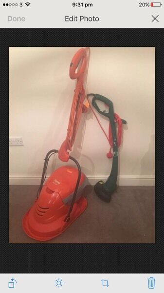 Flymo Mow and vac lawnmower and qualcast strimmer