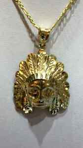 10K GOLD 22 INCHES CHAIN WITH 2 INCHES INDIAN HEAD PENDANT