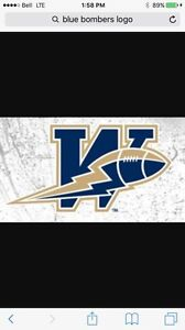3 Blue Bomber Tickets for October 8, 3:00