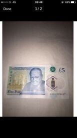 Serial number AA01 new five pound note