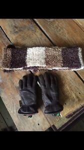 Winter leather gloves and scarf