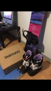 Burton brand new snow boots (size 7) and snowboard (55 inches).