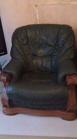 Dark green leather/ oak framed 3 piece suite