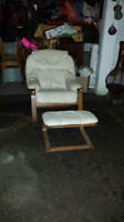REDUCED - Cream Leather Bentwood  Chair