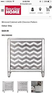 Like NEW Mirror Cabinet with chevron pattern & lamp  London Ontario image 2