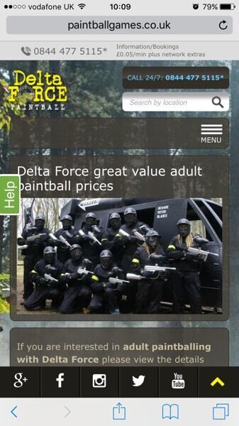 Delta I Force - Birmingham Paint-balling tickets for 2 including 1200 paintballs.