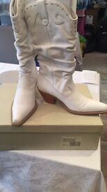 White DUNE cowboy boots