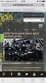 Delta I I Force - Birmingham Paint-balling tickets for 2 including 1200 paintballs.